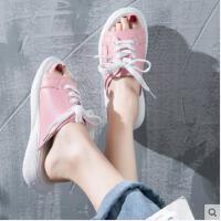 运动拖鞋女鞋外穿时尚百搭红懒人半拖平底夏季百搭潮款系带凉拖
