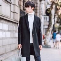 日系毛呢大衣男士外套中长款秋冬季新款韩版修身潮流呢子风衣 黑色 M
