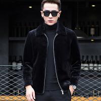 秋冬男士羊剪绒皮毛一体短款韩版修身皮草大衣真皮皮衣外套潮 黑色【绵羊皮】