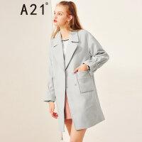A21以纯线上品牌2017冬季新品女装毛呢外套 宽松中长款大衣女喇叭袖4732124001