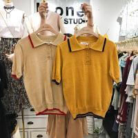 现货ulzzang春夏装uone学院风撞色POLO领短袖针织衫女时尚上衣