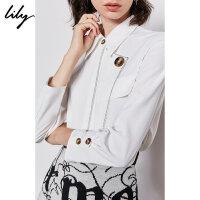 Lily2019冬新款女装经典商务设计感撞色辑线直身长袖白衬衫4907