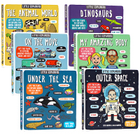 【满300-100】小小探险家系列科普翻翻书6册英文原版绘本Little Explorers太空海洋身体动物世界交通工具