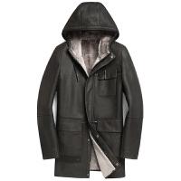 冬装进口连帽多口袋真皮中长款羊皮毛一体皮衣男士修身皮草外套 卡其灰