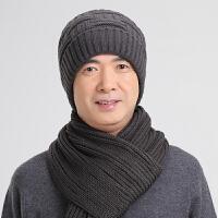 冬季男士帽子中老年针织毛线帽加围巾套装保暖帽加绒套头帽老人帽