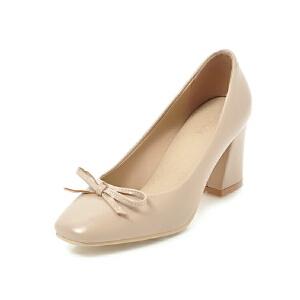 ELEISE美国艾蕾莎新品152-825韩版超纤皮高跟粗跟蝴蝶结女士单鞋