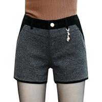 冬季短裤女新款外穿韩版百搭加厚毛呢秋冬款修身显瘦打底靴裤 灰色 X