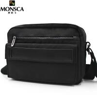 摩斯卡 男士单肩包时尚商务单肩斜跨包 运动背包大容量防水尼龙ipad休闲男士包