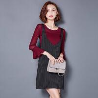 秋冬装新款大码女装秋冬季两件套背带连衣裙套装裙8851