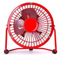 普润 usb迷你风扇静音4寸小风扇 USB桌面散热风扇电风扇 红色