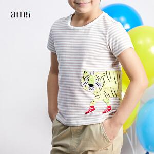 【尾品汇 5折直降】amii男中大儿童条纹T恤2018夏新款韩版休闲时尚帅气12-15岁男孩