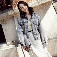 韩版休闲做旧复古女士牛仔外套女 秋季女装翻领纯色长袖牛仔夹克 中灰 均码