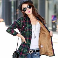 冬装新款韩版加绒衬衫女长袖加厚保暖格子衬衣修身打底衫大码外套