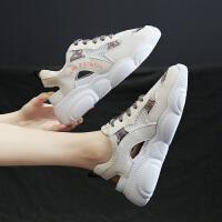 女运动鞋网面透气夏季时尚新款百搭镂空休闲女鞋ins潮小熊老爹鞋