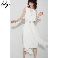 【开学季到手价:749元】 Lily2019秋新款女装气质压褶立体花朵长款无袖连衣裙119310C7223