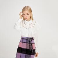【3件2折 到手价120】LILY女装复古宫廷风小高领设计绣花镂空荷叶边衬衫