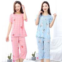 女士夏天睡衣绵绸短袖七分裤棉绸人造棉月子服家居服套装夏季