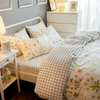 小清新床单四件套全棉纯棉田园风被套1.8m床上用品三件套床笠
