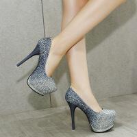 高跟鞋女超高跟单鞋夜店14cm防水台性感细跟亮片拼色单鞋圆头女鞋