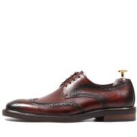 英伦复古雕花皮鞋男真皮系带手工德比鞋男布洛克款式正装皮鞋