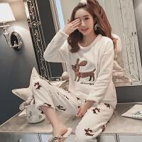 冬季珊瑚绒睡衣女甜美可爱韩版加厚秋天法兰绒清新学生家居服套装