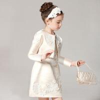 儿童公主裙两件套装花童婚纱裙 女童礼服生日圣诞节演出服 香槟色