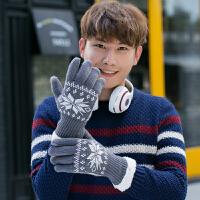 五指针织触屏手套男士秋冬季加绒加厚保暖分指手套学手套骑车手套