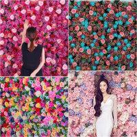仿真植物墙阳台假草皮塑料绿植墙室内花墙背景墙装饰绣球玫瑰花头