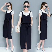 两件套装连衣裙2017夏季新款女纯色开叉背带裙两件套短袖夏季新品韩版女装