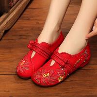 老北京布鞋女式民族风绣花鞋内增高汉服鞋舞蹈鞋透气休闲单鞋款子