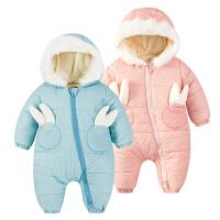 婴儿连体衣服0岁2个月新生儿女宝宝衣服秋冬季冬季冬装可爱外出服