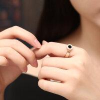 韩版钛钢镀18K玫瑰金罗马情侣戒指男女对戒尾戒食指关节戒指指环