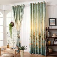 中式田园窗帘成品平面窗遮光窗帘布料简约现代卧室客厅落地窗飘窗