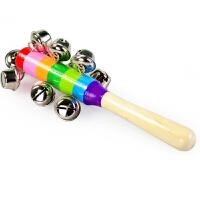 儿童宝宝婴儿早教玩具 彩色串铃手摇铃铛棒铃 0-6个月 大号七彩摇铃串铃