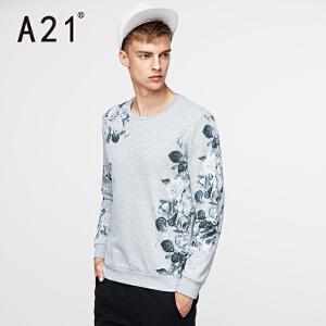 以纯A21男装圆领时尚印花套头长袖T袖 休闲百搭舒适2017春装新品衣服