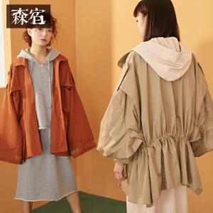 森宿工装外套春装2018新款文艺大口袋魔术贴宽松风衣女