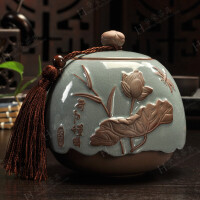 紫砂茶叶罐陶瓷 密封罐 防潮储存罐大号茶罐普洱罐茶叶缸茶盒