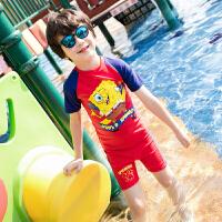 海绵宝宝男童儿童泳衣男孩分体泳装平角裤防晒温泉中小童泳衣 红色