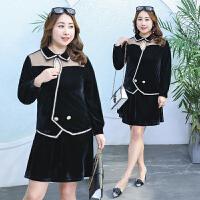套装女春季两件套裙韩版小清新加肥加大码200斤金丝绒时尚连衣裙