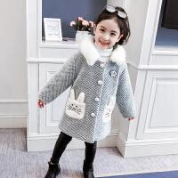 儿童外套冬季2018新款韩版连帽保暖上衣棉衣格子大衣