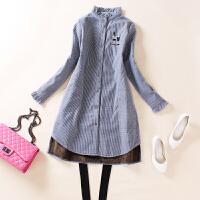 秋冬新款木耳边刺绣条纹加绒衬衫女长袖中长款百搭加厚棉衬衣外套