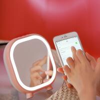 20180718074350147LED化妆镜 带灯可充电美妆镜子 便携蓝牙音响梳妆镜 礼物
