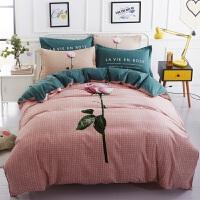 床上四件套棉棉简约2.0米1.8m床单双人网红被套家纺J 乳白色 惟一四件套