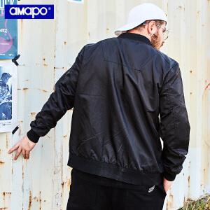 【限时抢购到手价:145元】AMAPO潮牌大码男装春季胖子加肥加大码宽松嘻哈棒球领保暖夹克男