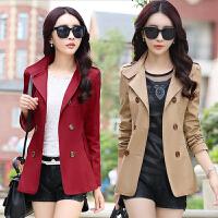 2018年春装新款小个子韩版修身气质显瘦百搭双排扣风衣女短款外套