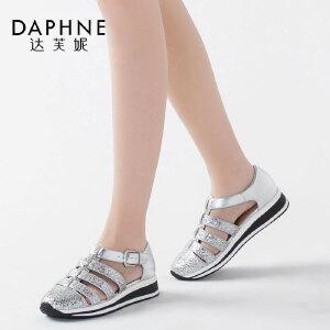 Daphne/达芙妮圆头亮面镂空丁字扣女单鞋休闲运动女鞋1516102017