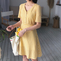 韩版复古V领短袖格子连衣裙女夏季2018新款学生修身显瘦A字裙短裙
