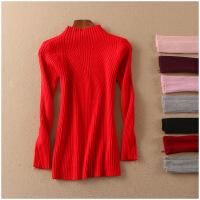 特价 春季修身打底衫半高领长袖纯色保暖套头针织衫女50030
