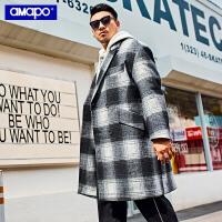 【限时秒杀价:324元】AMAPO潮牌大码男装中长款保暖加厚毛呢大衣加肥加大千鸟格大衣男