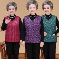 老人�R甲女秋冬加厚保暖����女式羽�q棉背心春秋短款外穿中老年人